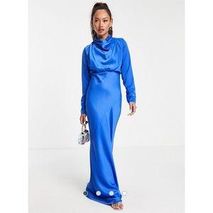 ASOS   High Neck Drape Bias Cut Satin Gown Cobalt